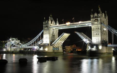 晚上,建筑,伦敦,建筑,塔桥