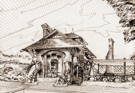 房子,黑色和白色,幻想,花园的房子