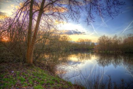 德国,河,秋天,Ostwestfalen,人类发展报告,树木,性质
