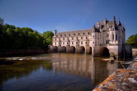 法国,城堡,法国的城堡,美丽,河流,树木