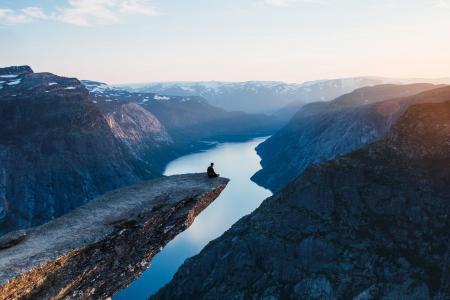 挪威,山,美丽,光线,峡湾,美丽