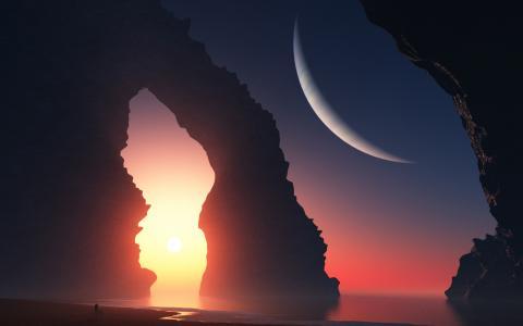 女孩,岩石,行星,日落,艺术,拱,海,景观