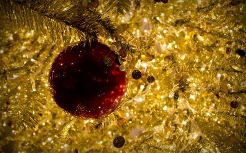 球,圣诞节,红色,圣诞节,新的一年