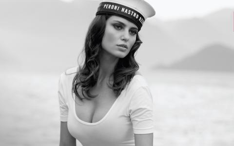 Catrinel Menghia,女孩,模型,构成,水手,黑色,白色,背景