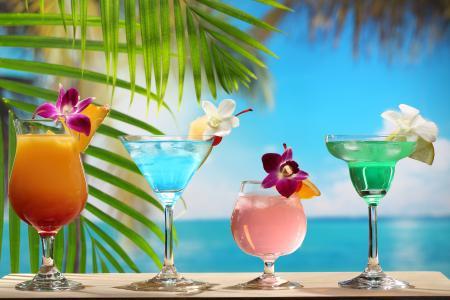 沙滩,棕榈叶,鸡尾酒,鲜花
