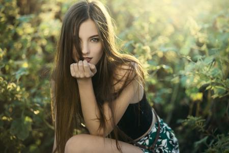 沙漠,时尚,女孩,模型,森林,自然,光,反射