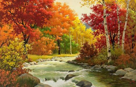 秋天,图片,河,森林,美丽,山