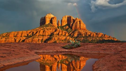 峡谷,犹他州,水,天空,沙漠