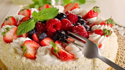 蛋糕,草莓,食品,覆盆子,浆果,甜,甜点