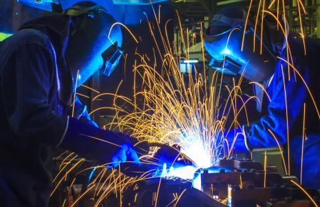 制造,个人防护装备,焊工,工作,男人,火花,面具