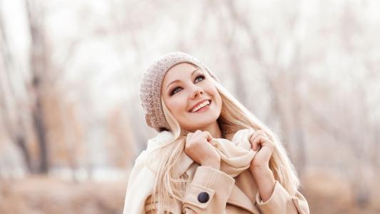 女孩,脸,眼睛,看,微笑,笑声,情绪,帽子,围巾,美女