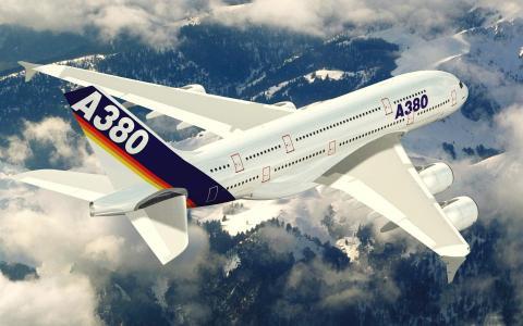 空中客车,空中客车,飞行,飞机,大,天空,地球