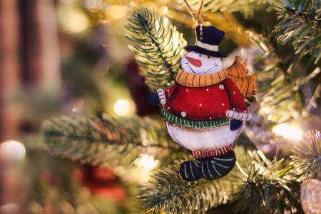 假日,新年,圣诞节,树,分支机构,玩具,雪人