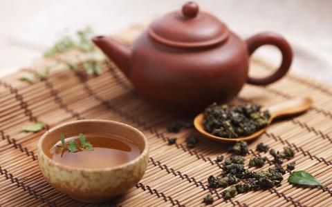 杯子,茶壶,叶子,席子,匙子,茶,茶