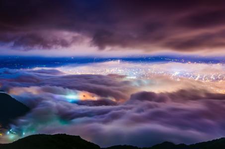 城市,晚上,台北,山,云,雾