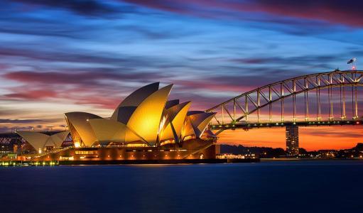 晚上,悉尼,桥,歌剧院,澳大利亚,灯