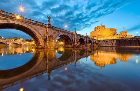 罗马,意大利,梵蒂冈,罗马,意大利,梵蒂冈,圣安吉拉桥,城市,晚上,照明,河,水,倒影,天空
