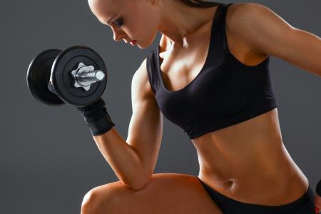 健身,锻炼,女人,哑铃,武器