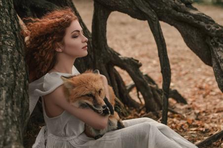 狐狸,狐狸adisey,伊丽莎白vasina,女孩,卷发,风