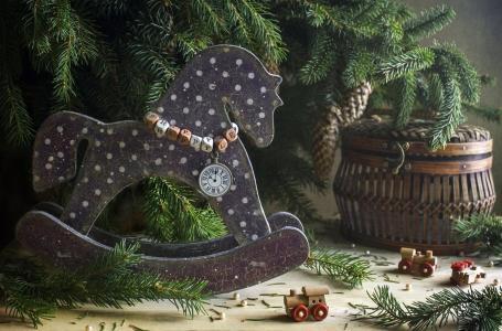 新年,假期,圣诞节,树枝,针,云杉,玩具,马,火车,篮子