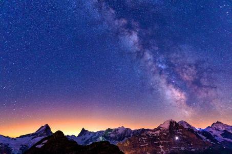 银河系,天空,星星,山脉,美景