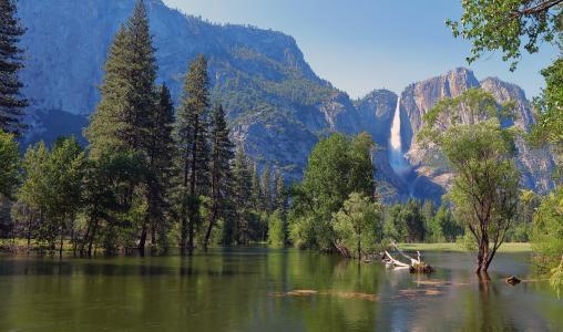 优胜美地国家公园,瀑布,高山,岩石,美丽