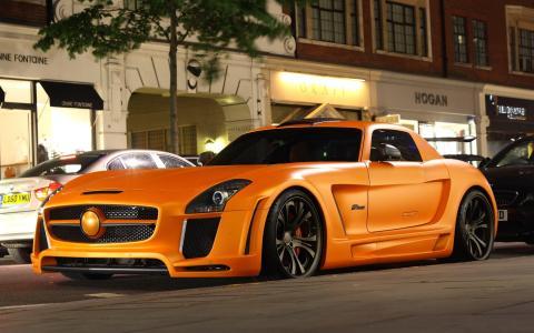 汽车,汽车,奔驰,电机,车轮,车轮,调整,道路,建筑物,照明,梅赛德斯 - 奔驰,sls,哈曼