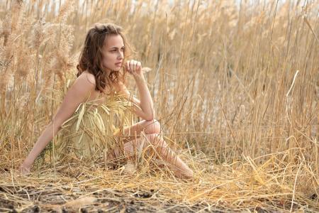 夏天的叶子,芦苇,女人,心情,梦想,悲伤