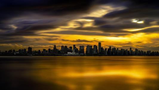 夜幕笼罩,美丽,夕阳,建筑,摩天大楼