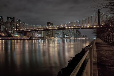 纽约市,城市,公园,东河,长椅,桥,桥,夜间