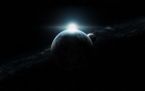 行星,无限,日出,星星,月亮