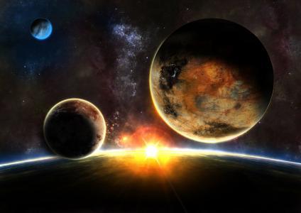 星星,行星,日出,日出