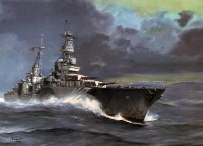 海,波特兰,艺术,波浪,ca-33,巡洋舰,_portland_,重