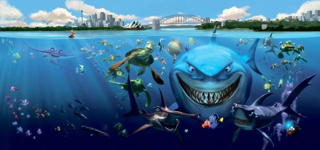 居民,鲨鱼,水下,卡通,鱼,寻找海底总动员