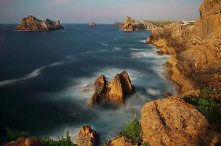 海洋,岩石,海岸,美丽的天空