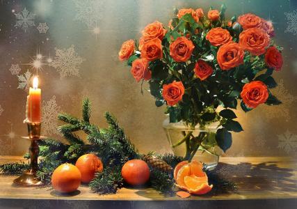 瓦伦蒂娜科洛娃,静物,静物,花瓶,树枝,针,云杉,枞树,鲜花,玫瑰,锥,水果,橘子,蜡烛