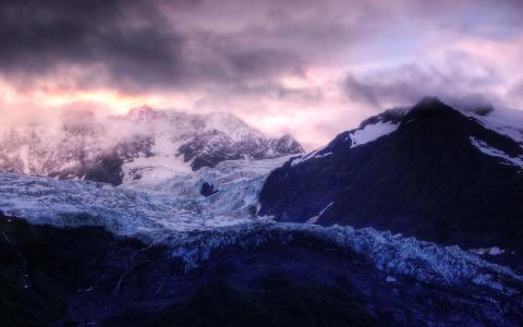 山,高度,云,冬天,查看,美丽的山景观