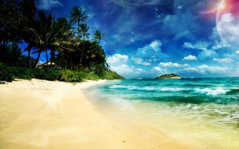 海滩,热带,艺术,okena,天空,手掌,嗡嗡声
