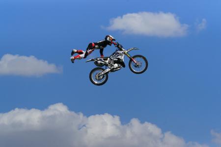 云,男子,摩托车越野赛,天空,跳,摩托车