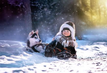 孩子,哈士奇,冬天,雪,朋友,游戏