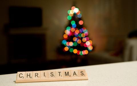 圣诞树,圣诞节,散景,圣诞节,假期