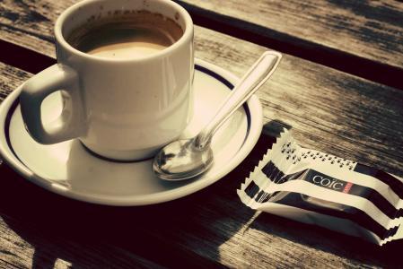 表,杯,咖啡,勺子,糖果,美味