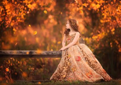 桑德拉比安科,孩子,女孩,红色,卷发,花圈,礼服,叶子,性质,秋天,落叶