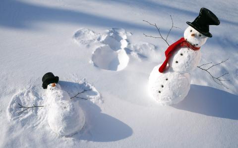 雪人,围巾,冬天,雪,帽子