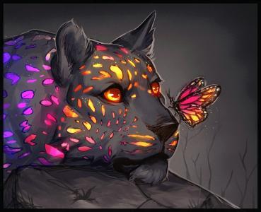 豹,蝴蝶,3d图形