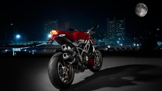 夜晚的城市,摩托车,月亮,照明