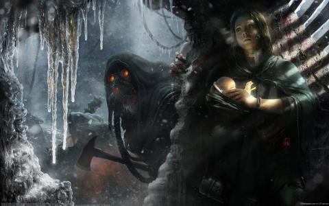怪物,斧头,冰柱,冬季,妈妈,宝贝,住房