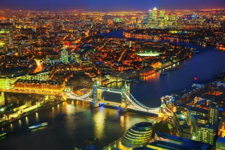 英国,河,桥梁,英国,伦敦,夜,从上面,城市
