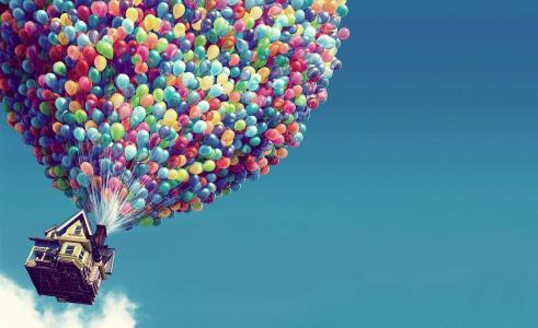 房子,气球,飞行
