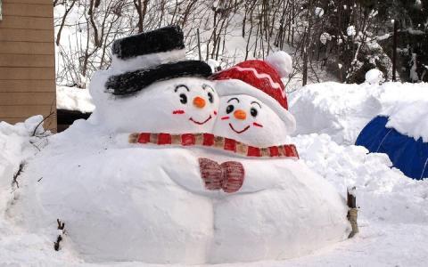 两个雪人,雪,冬天,城市,颜色